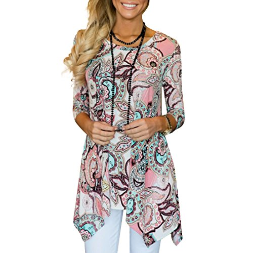 Destinas Women's Irregular Printed Paisley Handkerchief Hem Blouse Tunic Tops XL Pink