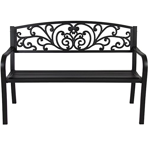 Patio Bench Steel Frame Garden Lawn Park Yard Backyard Outdoor Decor Furniture Porch Chair Back Rest Powder Coated Durable