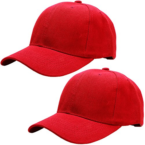 Baseball Cap Adjustable Size Solid Color G001-03-Red & 03-Red