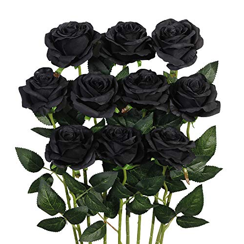 Luyue Artificial Silk Rose Flower Bouquet Wedding Party Home Decor, Pack of 10-Black (Flowers Roses Black Bouquet)