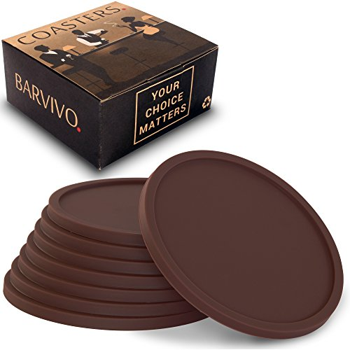 Brown Drink Coasters by Barvivo Set of 8 - Tabletop Protection For Any Table Type, Wood, Granite, Glass, Soapstone, Marble, Stone Tables - Perfect Soft Coaster Fits Any Size of Drinking Glasses.