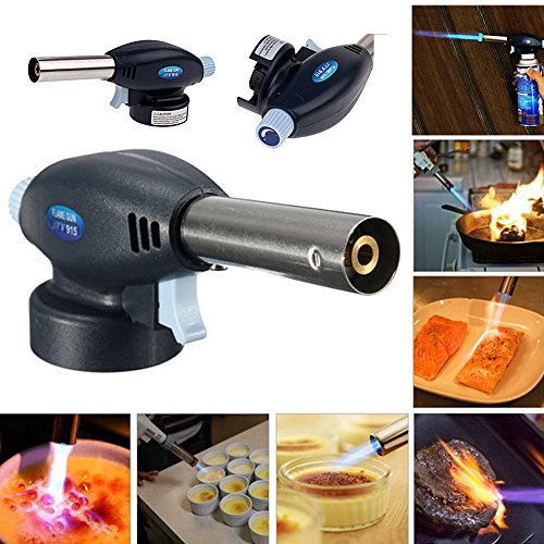 Gas Blow Torch,Rambling Butane Soldering Gas Burner Soldering Iron Flamethrower Burner Adjustable Flame Lighter Igniter, Professional Cooking Gas Torch Head For BBQ,Picnic, Camping,Soldering (Gas Torch Head)