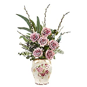 Nearly Natural 1865-MA Rose, Eucalyptus and Pussy Willow Artificial Floral Print Vase Silk Arrangements Mauve 15