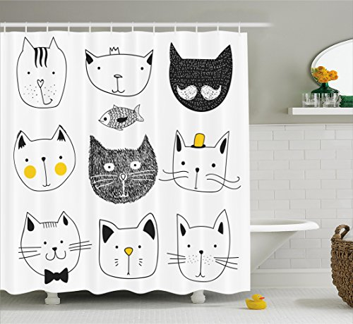 Cat Shower Curtain by Ambesonne, Stylish Cats with Moustache Bow Tie Hat Crown Fluffy and Fish Humor Faces Graphic, Fabric Bathroom Decor Set with Hooks, 75 Inches Long, Yellow - Long Cat Face