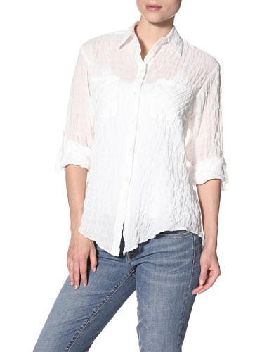 Drew Women's Cameron Button Down Top with Snap Back, White, M Cameron Button Down Shirt