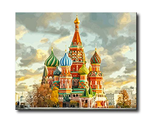 (Shukqueen DIY Paint by Numbers for Adults DIY Oil Painting Kit for Kids Beginner - Fairy Tale Castle 16x20 Inch (Wooden Frame))