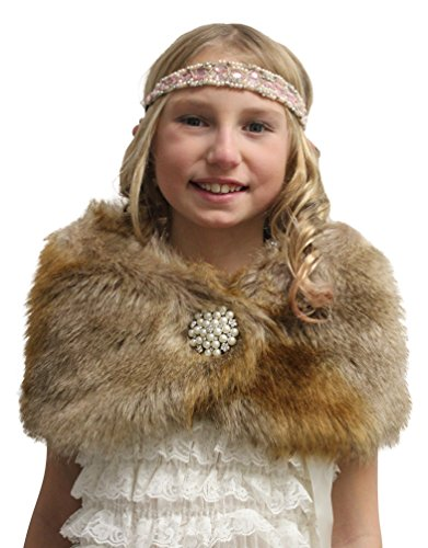 Lined Vintage Wrap (Faux Fur Wedding Wrap Flower Girl Vintage Brown Size Large)