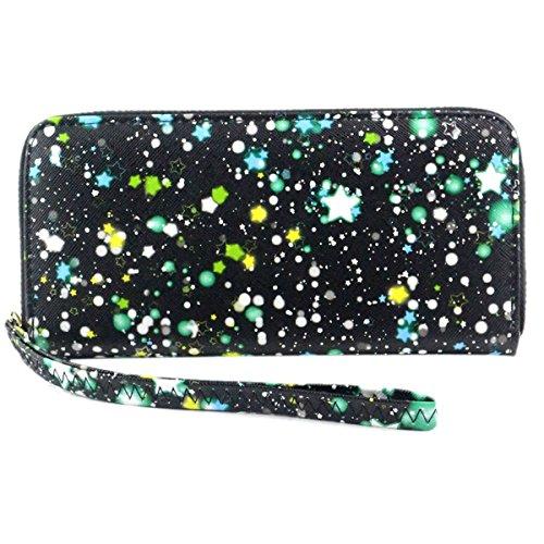 Women Bowknot Long Purse Button Wallet Clutch Hand Bag (Green) - 8