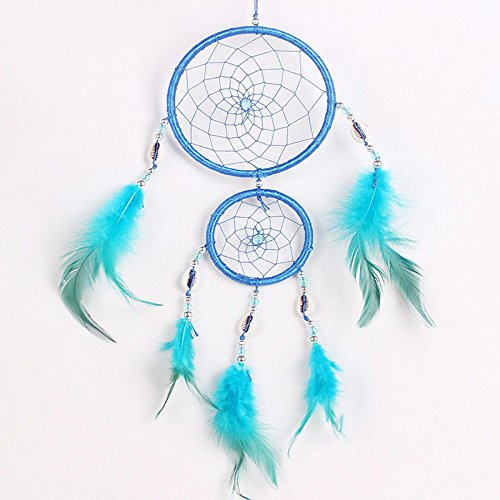 JUJU MALL-Home Car Blue Dream Catcher Circular With feather Wall Hanging Decoration - Jersey Gardens Mall New