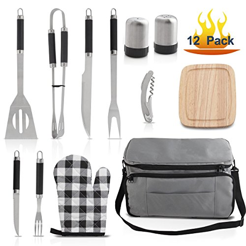 Grilljoy BBQ Tool set with 15 can Gray Insulated Cooler Bag - Stainless Steel Barbecue Grilling Utensils, Premium Grilling Accessories for Family Barbecue Outdoor Camping - Prefect Birthday Gift Camping Grilling