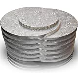 12 inch Round Cake Boards, 12 Pack, Sturdy Greaseproof Drums with Smooth Edge of 1/2 inch Thick Corrugated Paper, Coated with Embossed Foil of Silver Grape Leaf, Bonus - 6 Scalloped-Edge Pads