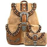 Justin West Trendy Western Rhinestone Leather Conceal Carry Top Handle Backpack Purse (Western Khaki Backpack Wallet Set)
