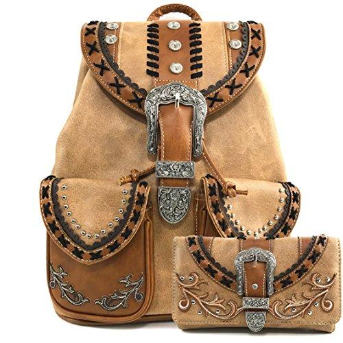 estern Rhinestone Leather Conceal Carry Top Handle Backpack Purse (Western Khaki Backpack Wallet Set) (Trendy Western Wallet)