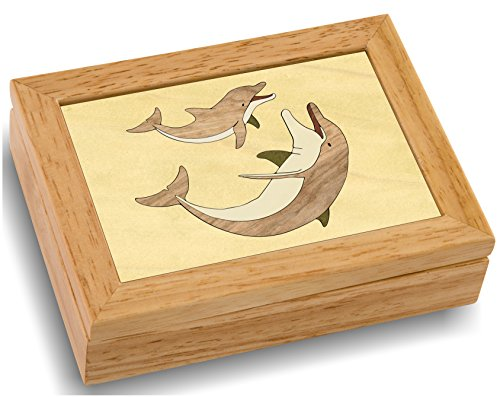 Wood Art Dolphin Box - Handmade USA - Unmatched Quality - Unique, No Two are The Same - Original Work of Wood Art. A Dolphin Gift, Ring, Trinket or Wood Jewelry Box (#4115 Dolphin's Play 4x5x1.5)