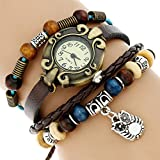 Genuine Leather Silvered OWL Bracelet Watch Women Ethnic Girl Fashion Wristwatch