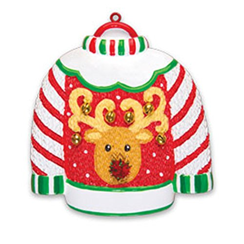 Personalized Ugly Sweater Christmas Ornament - Candy Cane Green Knit with Rein-Deer Real Bells Glitter Pompom Nose - Fun Party Annual Rudolph The Red Nose Christmoose - Free ()