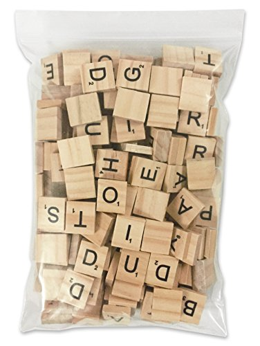 PerriRock 200 Pcs Scrabble Letters - 2 Complete Sets - Wood Tiles - Great for Crafts, Letter Tiles, Spelling by Clever Delights (Make A Word From These Letters Scrabble)
