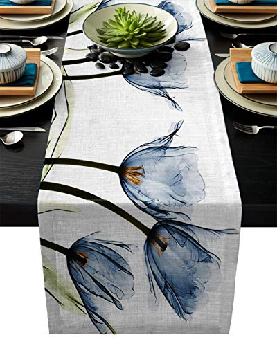 (IDOWMAT Linen Burlap Table Runner Dresser Scarves 13 x 90 Inch, Blue Tulip Flower Kitchen Table Runners for Farmhouse Dinner, Holiday Parties, Wedding, Events, Decor)