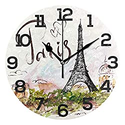 Dozili Watercolor Paris Eiffel Tower Round Wall Clock Arabic Numerals Design Non Ticking Wall Clock Large for Bedrooms,Living Room,Bathroom