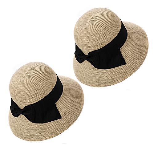 Summer Straw Sun Hat for Women Beach Floppy Fedora Panama Hats SPF Travel Foldable Wide Brim Beige Medium 2Pcs Siggi