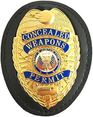 Genuine Leather Badge Holder, Recessed for Shield Badges, with Neck Chain and Belt Clip for Police, Loss Prevention, Security, CCW, CWP, Sheriff, Detective, Badge Holder BADGE NOT INCLUDED