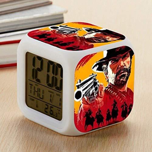 VIZIKS Hot Game Red Dead Redemptio 2 Bedroom Digital Luminous Watch Alarm Despertador Kids Night Color Changing Bedside Clock -Multicolor Complete Series Merchandise