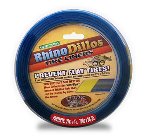 Rhinodillos Bicycle Tire Liners 700 x 28-35c Flat Prevention, Tough Silver Strip, Softer Blue Layer with Red Sticker