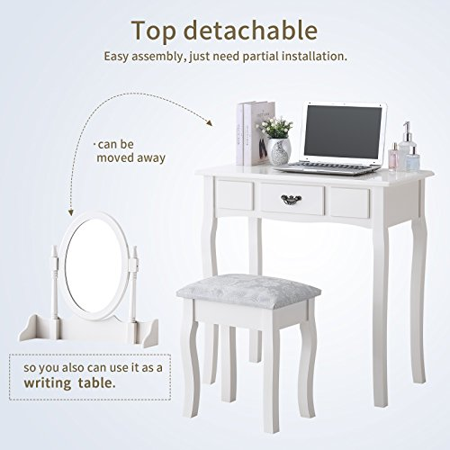 Mecor Vanity Makeup Table Set Dressing Table with Stool and Oval Mirror,White by Mecor (Image #2)'