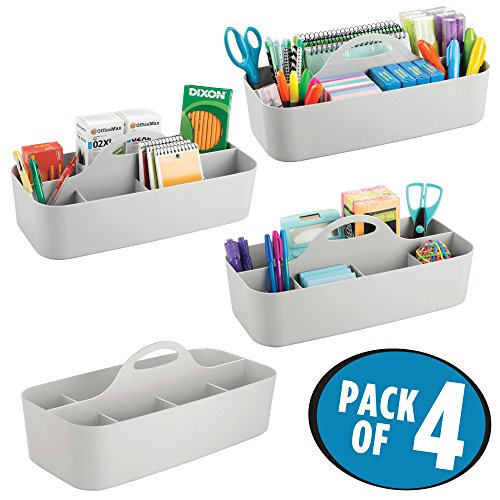 mDesign Large Office Storage Organizer Utility Tote Caddy Holder with Handle for Cabinets, Desks, Workspaces - Holds Desktop Office Supplies, Gel Pens, Pencils, Markers, Staplers, 4 Pack - Light Gray by mDesign (Image #1)