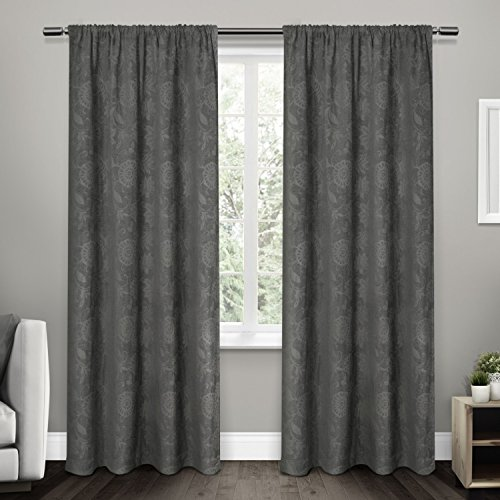 Exclusive Home Curtains Elle Heavyweight Floral Scroll Chenille Jacquard Room Darkening Rod Pocket Window Curtain Panel Pair, Soft Grey, 52x84 - Chenille Jacquard Panel