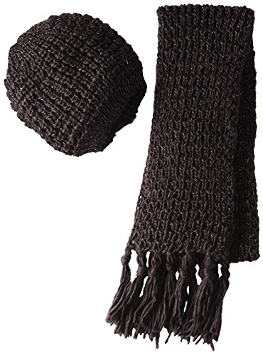 La Fiorentina Women's 2 Piece Chunky Muffler Scarf and Beret Set, Brown, One Size (Set Beret Scarf)