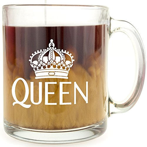 (Queen Crown - Glass Coffee Mug - Makes a Great Gift!)