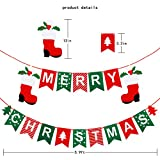 Little Biene Merry Christmas Banner Decoration, Felt Christmas Letter Garland Banner with Santa Boots,Tree for Xmas Party,Holiday,Wonderland Winter, Window,Ceilling,Home Decor.(Red and Green)