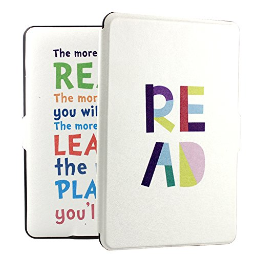 Ropada Quotes Print Case for Kindle Paperwhite 6'' PU Leather Kindle White Case Covers for Kindle PW All the Paperwhite versions (READ) (Case Print Kindle)