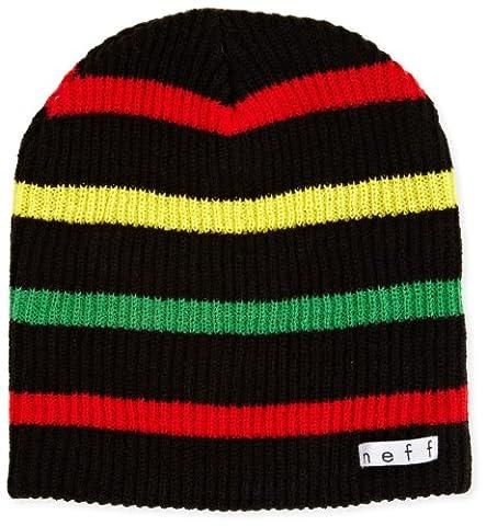 neff Young Men's Daily Stripe Beanie, Black/Rasta, One Size