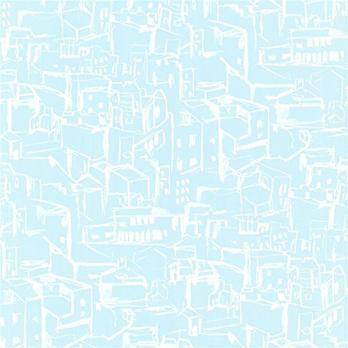 Hillside Village (Eijffinger By Brewster 330228 Ibiza Kasabian Aqua Hillside Village Sketch Wallpaper In Aqua)