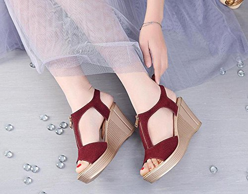 Girls L@YC Women Summer Sandals Waterproof Platform Leather High Heeled Fish Mouth Large Slope With 2017 Shoes , red , 43
