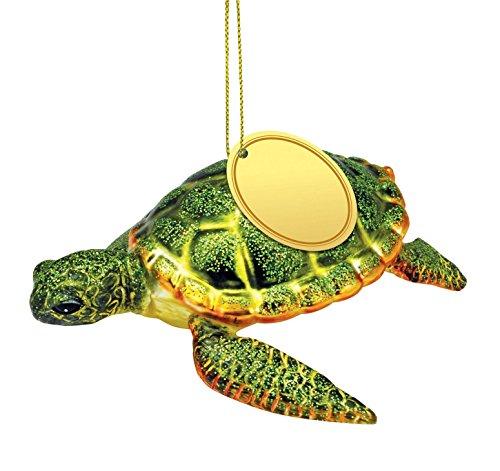 Cape Shore Sea Turtle Blown Glass Christmas Holiday Ornament 5 Inches