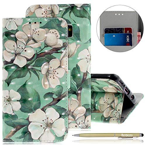 Motif En Ultra Anti Fleur Rabat Mince À Cuir Choc Coque 1103 Galaxy S9 Etui Housse Avec Herbests Magnétique Aquarelle Porte cartes wIA18qw