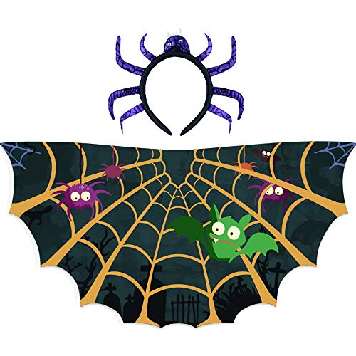 Kids Spider-Wings and Headband Costume for Girls Boys Halloween Dress Up Party Favors Black
