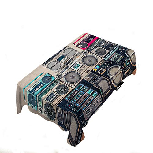 - Moslion Retro Recorders Tablecloth 60x84 Inch Vintage Style Old School Design Cassette Tape Boombox Rectangle Tablecloth Picnic Tablecloth BBQ Table Cloths Polyester for Kitchen