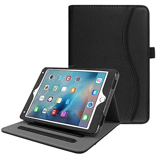 Fintie iPad Mini 4 Case [Corner Protection] - [Multi-Angle Viewing] Folio Smart Stand Protective Cover with Pocket, Supports Auto Wake/Sleep for Apple iPad Mini 4 (2015 Release), Black