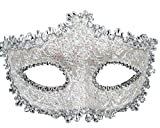 Geek-M Halloween Costume Lace with Rhinestone Venetian Mask Women Masquerade Mask White
