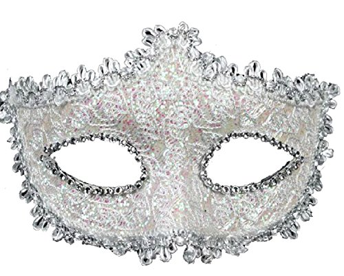 Geek-M Halloween Costume Lace with Rhinestone Venetian Mask Women Masquerade Mask White ()
