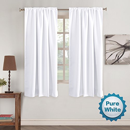 White Window Curtains Insulated Thermal Back tab/Rod- Pocket Room Darkening Curtains, Pure White, Solid Curtains for Living Room, 52