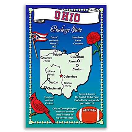 Amazon Ohio State Map Postcard Set Of 20 Identical Postcards