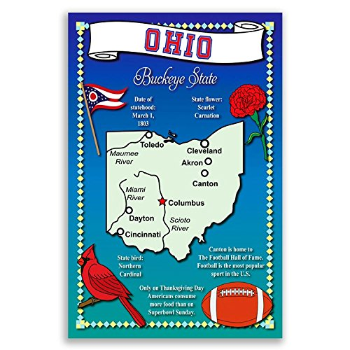 OHIO STATE MAP postcard set of 20 identical postcards. Post cards with OH map and state symbols. Made in (Ohio Post Office)