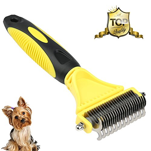 WU CHUNLING Pet Dematting Comb, Self Cleaning Brush for Dog Grooming Brush Tool, Removes Loose Undercoat, Mats and Tangled Hair for Dogs and Cats with Long or Short Hair by WU CHUNLING