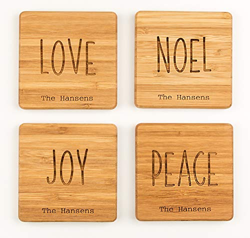 Monogram Wood Coasters for Drinks - Personalized Wedding Gifts, Bridal Shower Gifts (Set of 8, Love, Noel, Joy, Peace Design)