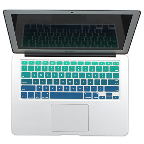 Batianda New Ombre Color Keyboard Cover Protector Silicone Skin for MacBook Air 13 MacBook Pro 13 15 17 (with or w/out Retina Display) - Gradient Green